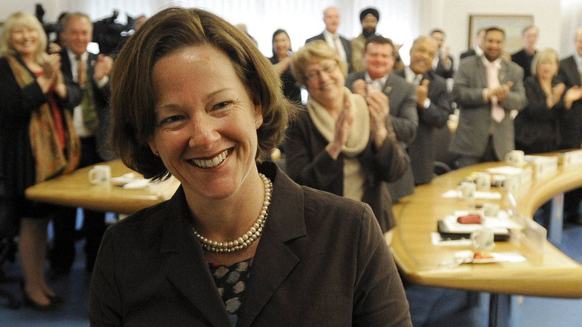 Premier elect Alison Redford is greeted by her new Progressive Conservative Party caucus at Government House in Edmonton May 2, 2012.