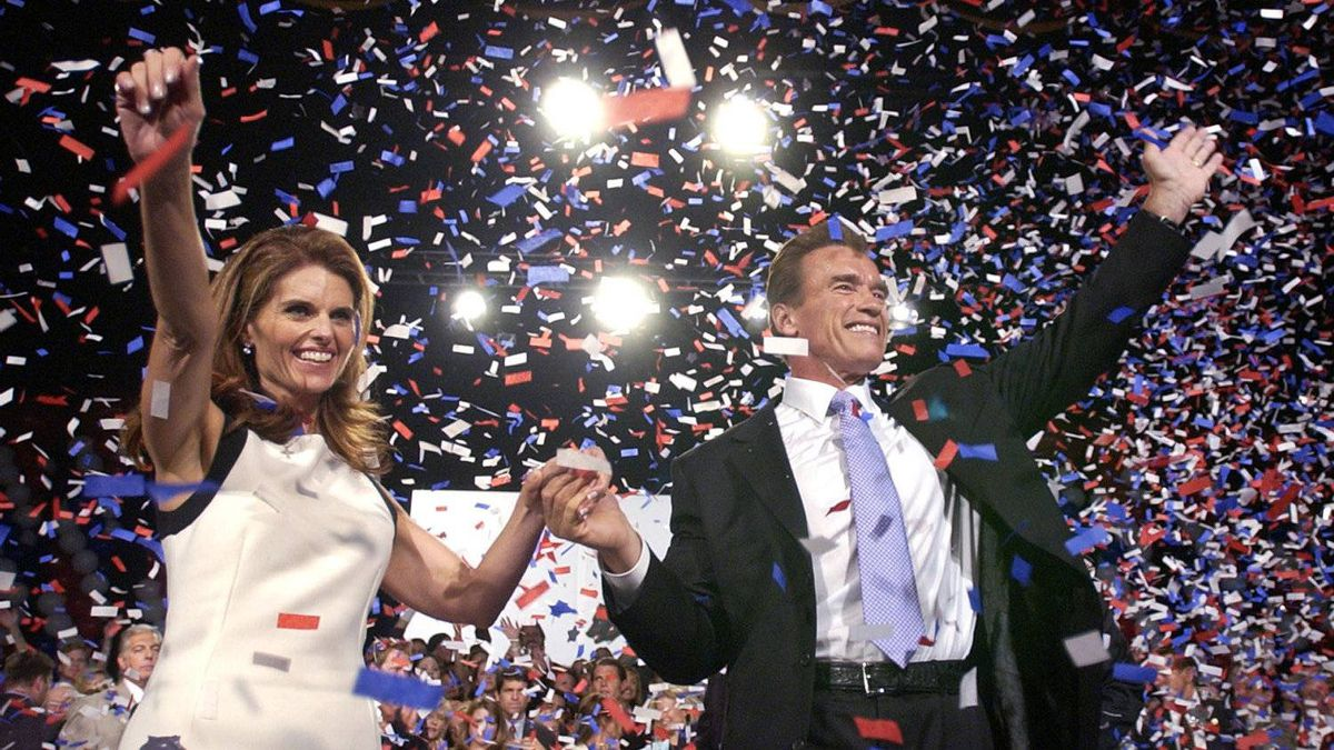 Republican Arnold Schwarzenegger is joined by wife Maria Shriver as he celebrates his victory in the California gubernatorial recall election in Los Angeles, Tuesday, Oct. 7, 2003.