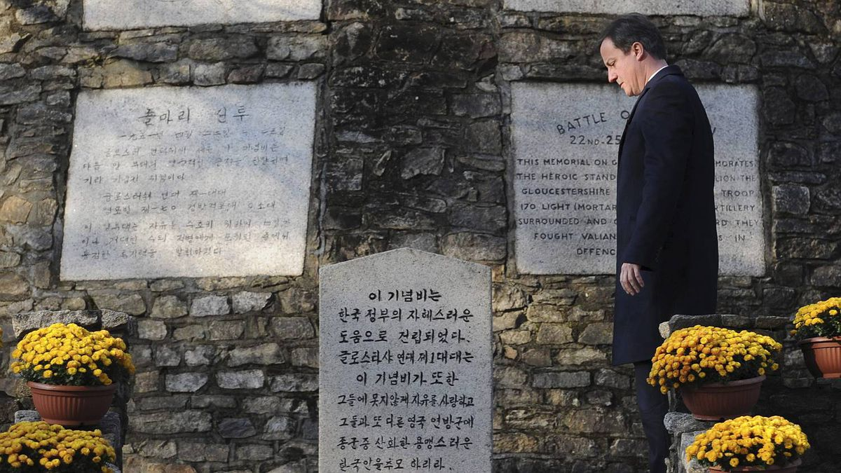 Britain's Prime Minister David Cameron marks Remembrance Day at Gloster Valley, South Korea November 11, 2010. The site is where the British Army fought one of their bloodiest battles when the 1st Battalion Gloucestershire Regiment were cut off and surrounded by the Chinese army during the Battle of Imjin River during the Korean War in 1951.