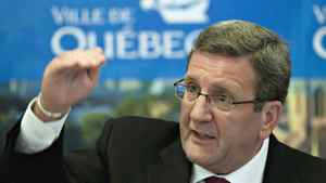 Quebec City Mayor Regis Labeaume responds to reporters questions Tuesday, September 6, 2011 in Quebec City over the signed agreement with Pierre Karl Peladeau and Quebecor on the management of a future arena.