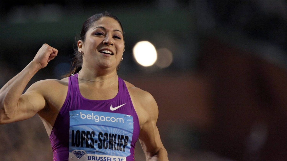 Canada's Priscilla Lopes-Schliep wins the women's 100 meters hurdles, at the IAAF Diamond League Memorial Van Damme athletics meeting in Brussels, Belgium, Friday, Aug. 27, 2010.