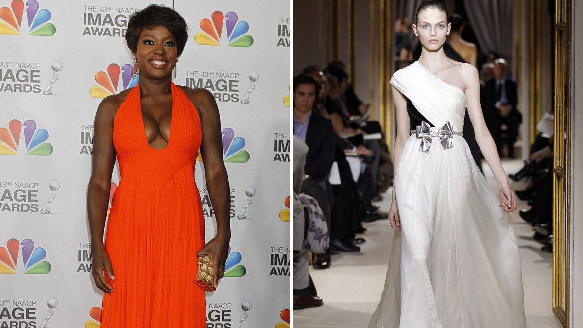 Viola Davis in Giambattista Valli Davis went for a plunging neckline at a recent awards show, and while there is nothing wrong with showing off the girls, perhaps the Academy Awards is not the place to do it. She's looked smashing in one-shoulder dresses before.