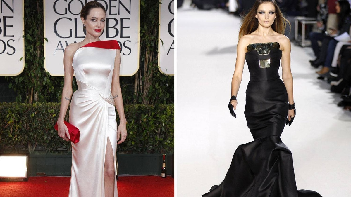 Angelina Jolie in Stephane Rolland The actress-turned-director has been rather boring this red-carpet season, one column dress after another. It's enough to make one long for her crazy Goth days. Hence this little number. The 'breastplate' is intense. But then again, so is Jolie. And if anybody's ever going to pull it off, it's her.
