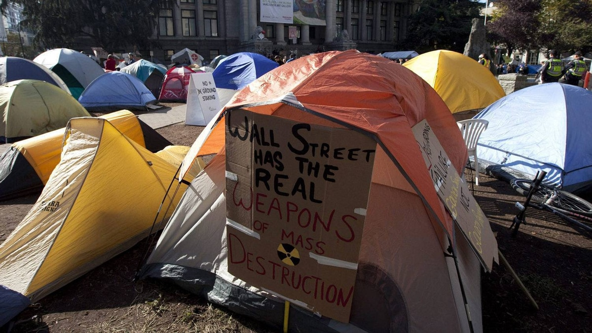 Occupy Vancouver protesters have set up a small tent city outside the Vancouver Art Gallery in downtown Vancouver, on Oct. 17, 2011. Vancouver Mayor Gregor Robertson says the Occupy Vancouver protesters will have to leave, but he's not saying when.