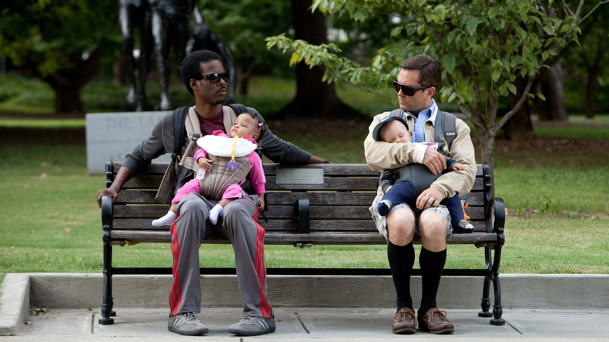 Chris Rock, left, and Tom Lennon star in What to Expect When You're Expecting, a film a Globe panel of dads says is less than accurate in depicting modern fatherhood.