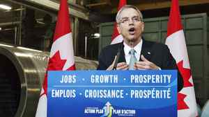 Natural Resources Minister Joe Oliver speaks at a Toronto news conference on April 17, 2012.