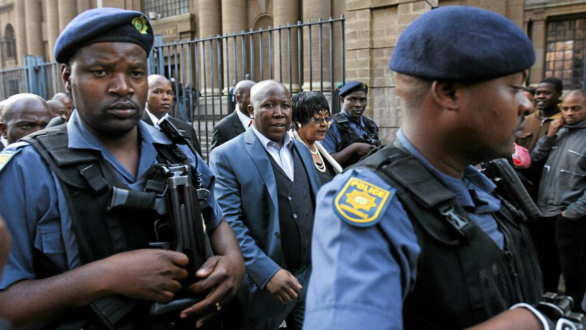 ANC Youth League President Julius Malema leaves court in Johannesburg last month following his trial on hate-speech charges.