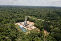 A Petrobras oil well in the Amazon rain forest, 650 kilometres southeast of Manaus, Brazil.