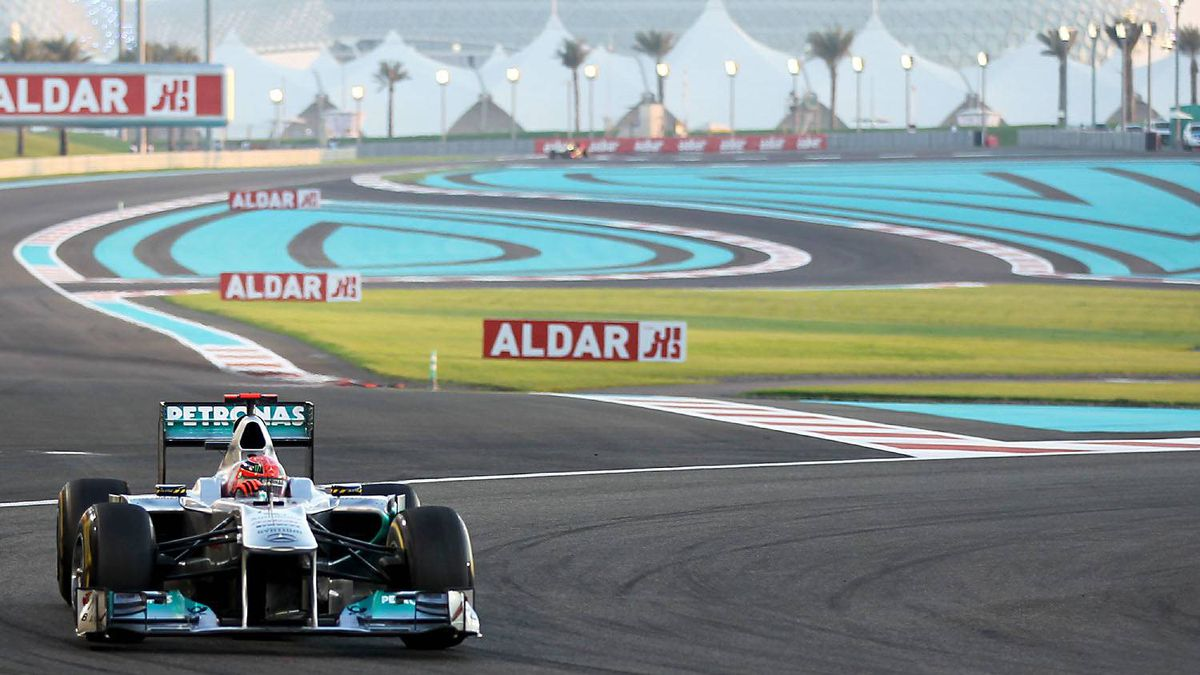Mercedes driver Michael Schumacher at the Yas Marina circuit on November 13, 2011 in Abu Dhabi during the Abu Dhabi Formula One Grand Prix.