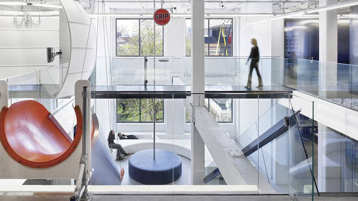 This is a view of the atrium space at the entrance of an advertising agency Grip Limited in Toronto.