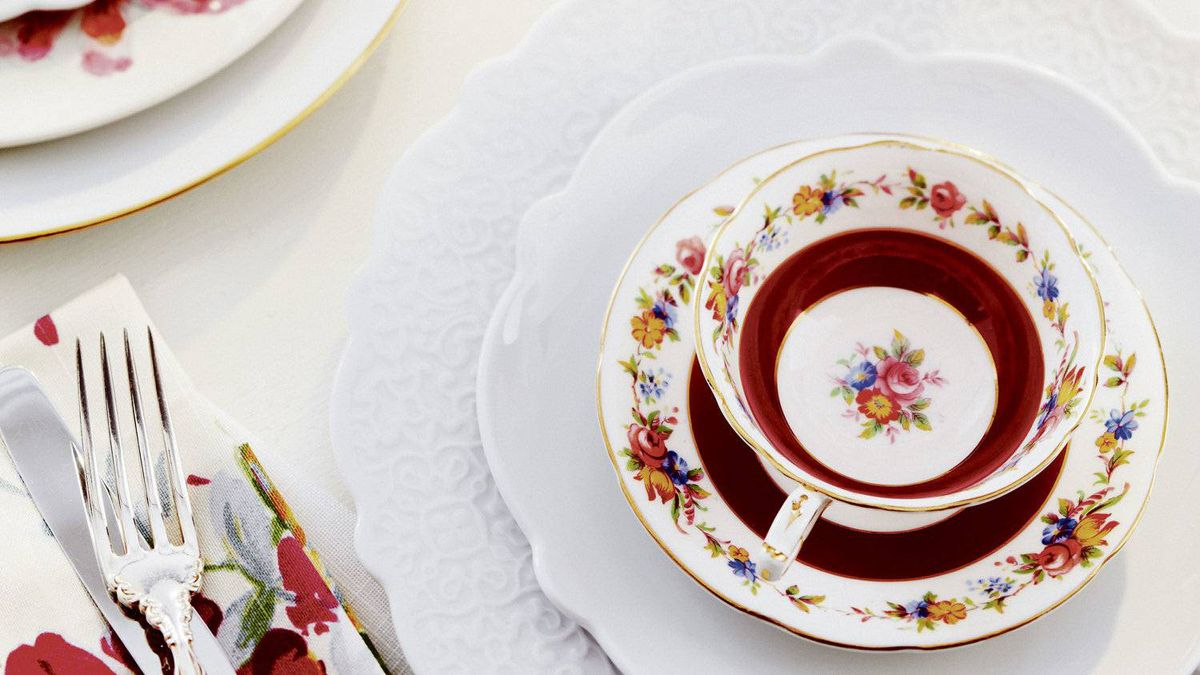 Role reversal Serve cocktails in teacups, tea in thermal glasses. Then layer over sparkling new china, such as designer Marcel Wanders' new line for Alessi. Pair with silver or chrome tableware to make the spread less fussy.