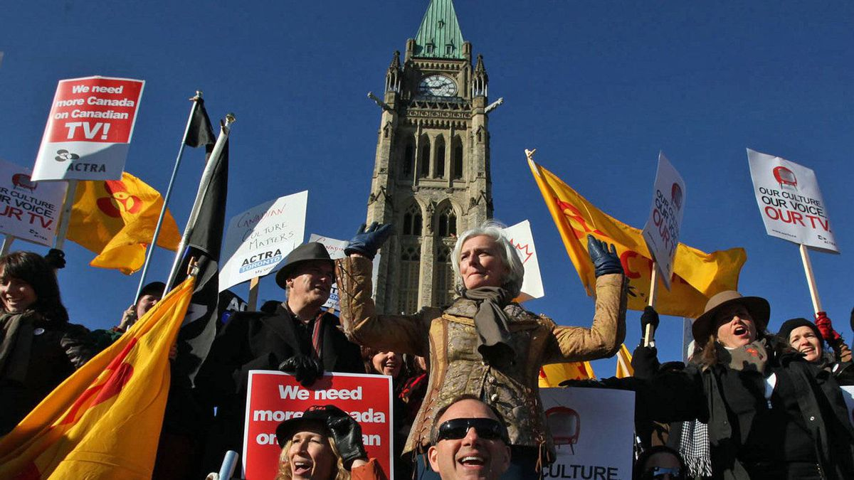 ACTRA president Ferne Downey leads a rally on Parliament Hill in November of 2009.