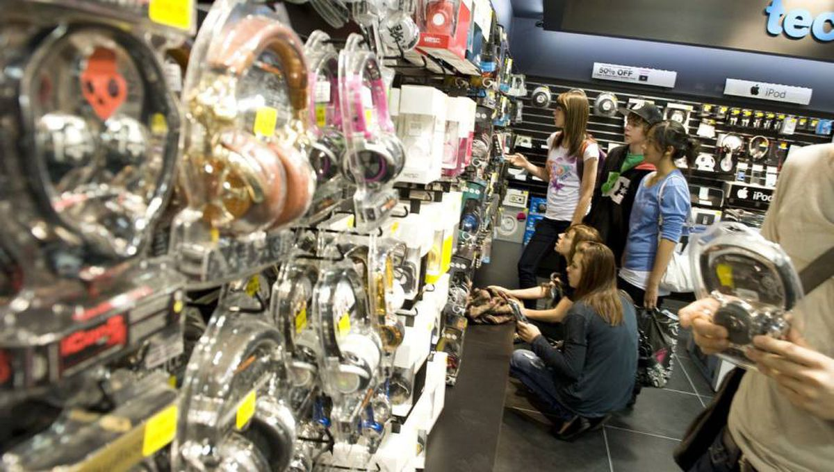 HMV Canada President Humphrey Kadaner had a grand opening for his newly relocated HMV in Eaton Centre on Saturday. The new store sells video games as well as an assortment of high end headphones.