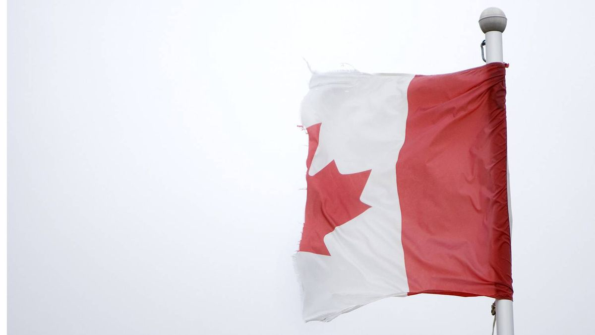 Canadian flag near Kitchener, Ontario with only half of it remaining.