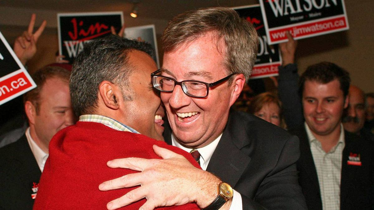 Ottawa mayor-elect Jim Watson is greeted by supporters at his victory party on Oct. 25, 2010.