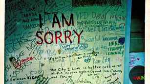 Vancouverites began writing apologies and angry tirades against the rioters on the boarded-up panels of the Hudson's Bay Company.