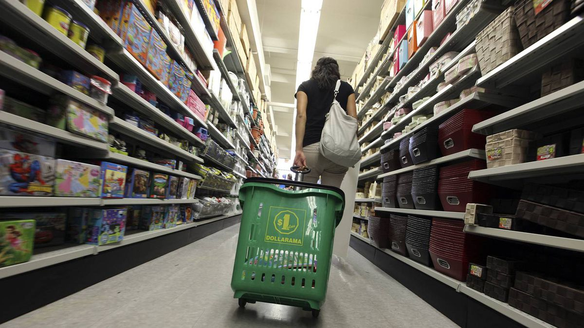 Shoppers at the Dollarama store on Spadina Avenue in Toronto on June 13, 2012.