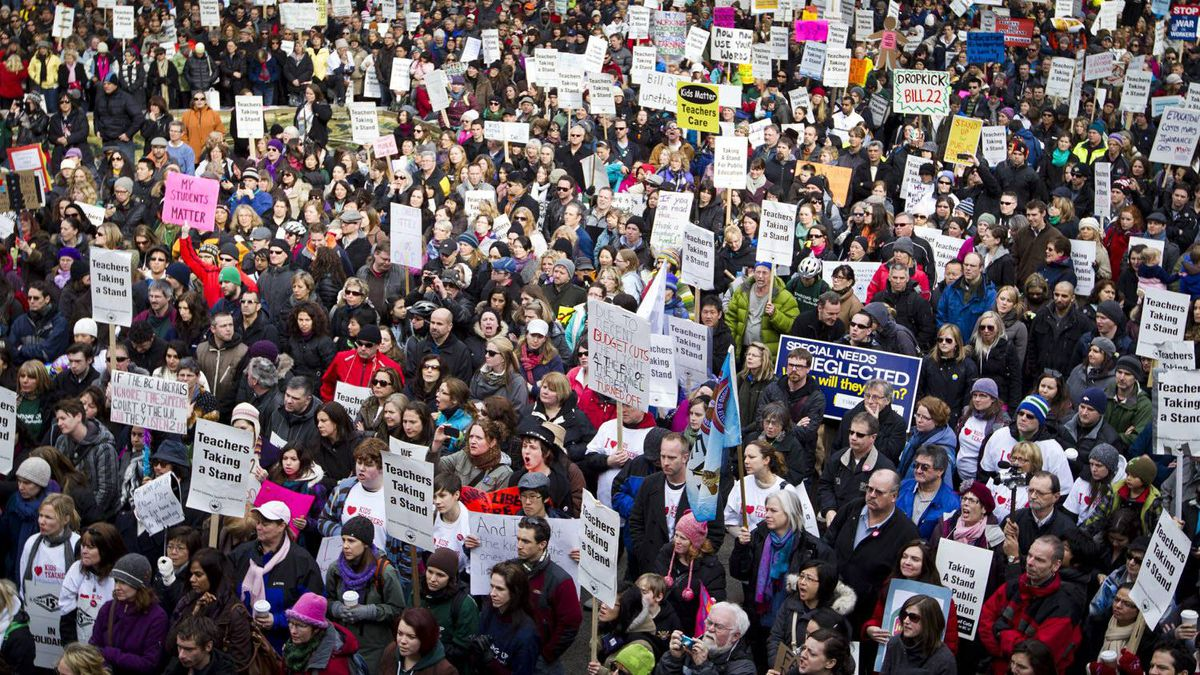 B.C. teacher's during a rally at the Vancouver Art Gallery in Vancouver on March 7, 2012.