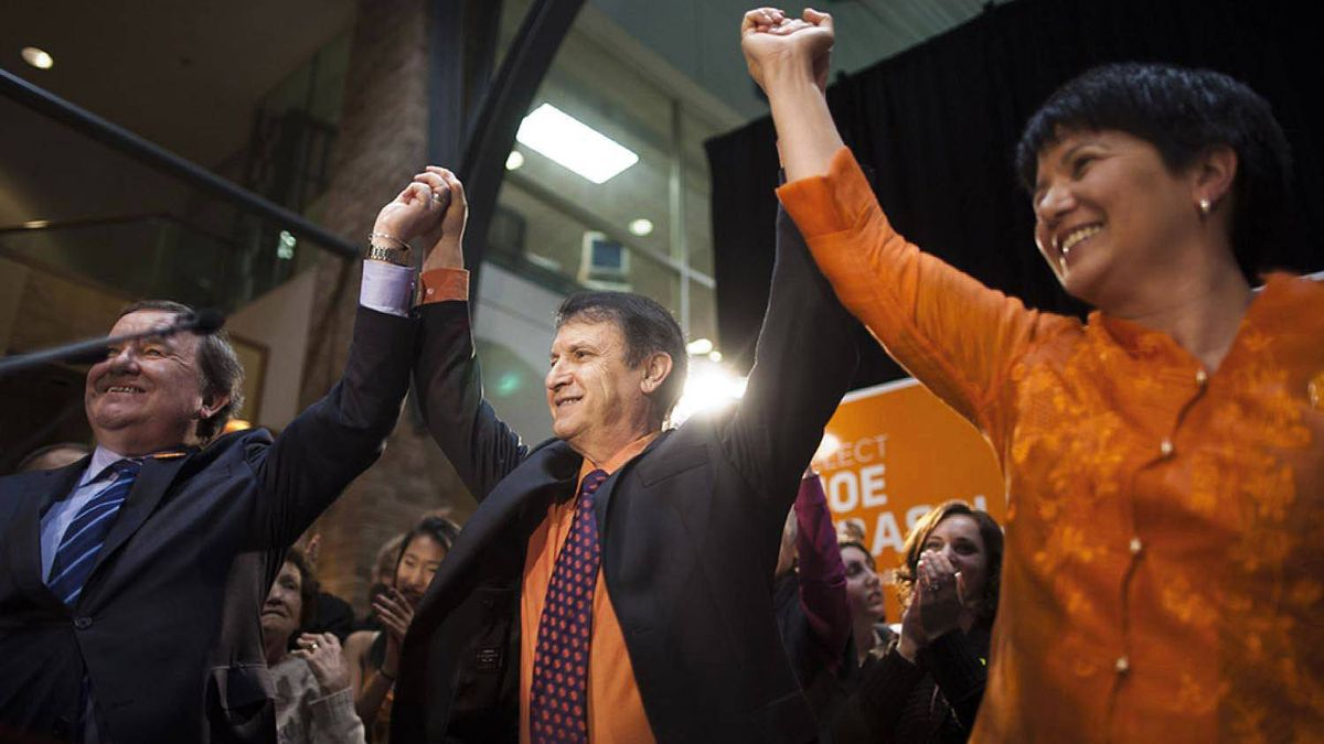 The newly elected NDP MLA for Port Moody-Coquitlam, Joe Trasolini, centre, celebrates his victory surrounded by colleagues, supporters and family in Port Moody, B.C. on April 19, 2012.