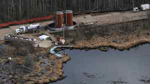 Cleanup under way at the Rainbow pipeline spill in northern Alberta.