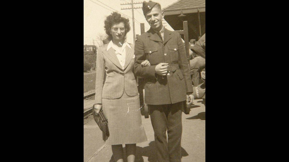 Hy and Rose Alper are pictured at the Montreal West train station in April 1942, the day Hy left for his initial training in Kingston, Ontario.
