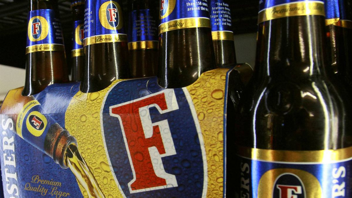 A six-pack of Foster's beer, the flagship product of Foster's Group.