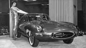 Playboy centrefold and the new Jaguar E-Type at the 1961 New York International Auto Show. Credit: Jaguar