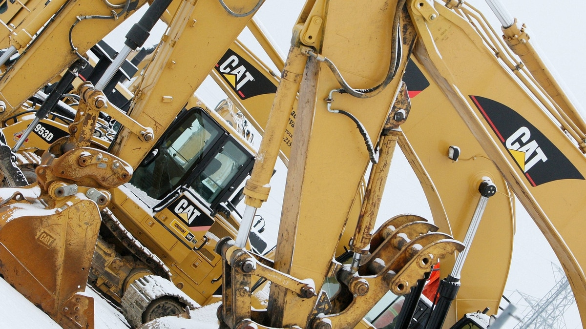 Caterpillar equipment sits on the lot at a dealership in London, Ont., home to a locomotive plant that is now closing.