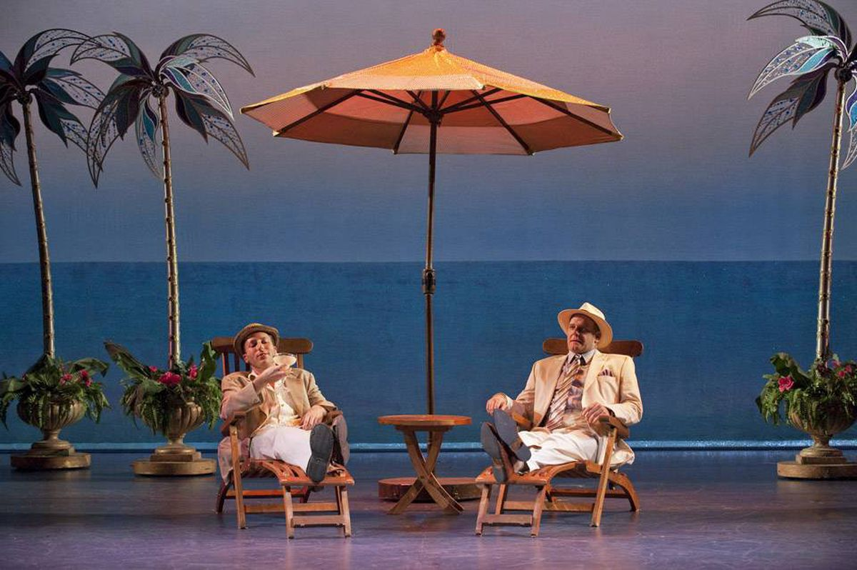 Josh Epstein and Andrew Wheeler are duelling scam artists in Dirty Rotten Scoundrels.