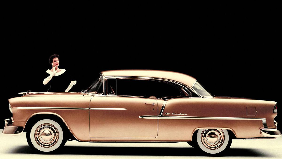 """General Motors has built more than 100 million """"small-block"""" V-8s since introducing the legendary motor family in 1955 to do battle in Detroit's escalating horsepower war. Since then, small-block V-8s have powered some iconic vehicles, including the 1955 Chevrolet Bel Air, pictured."""