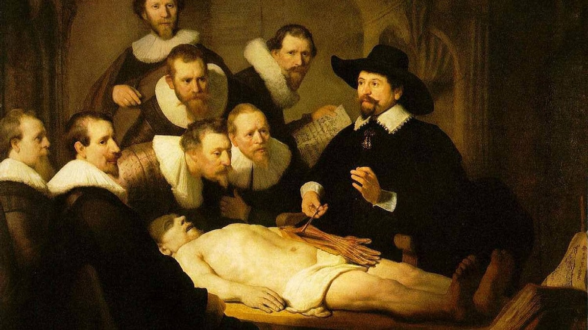 """You sure he's dead? Detail from Rembrandt's """"The Anatomy Lesson of Dr Nicholaes Tulp"""" (1632)"""