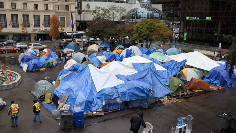 An overview of the Occupy Vancouver tent city from the steps of the Vancouver Art Gallery on OCt. 26, 2011.