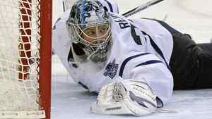 Toronto Maple Leafs goalie James Reimer stops a shot during the second period of an NHL hockey game against the Tampa Bay Lighting on Thursday, March 15, 2012, in Tampa, Fla. The Maple Leafs won 3-1. (AP Photo/Brian Blanco)