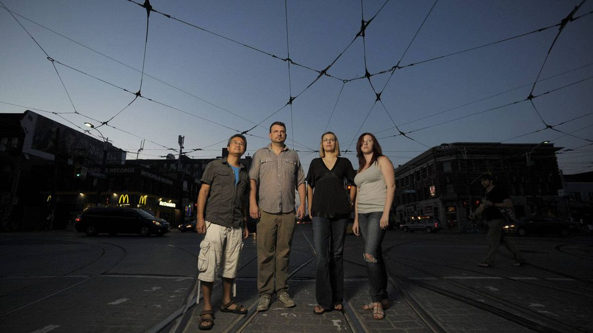 Portraits of four people who were 'kettled' by police at the intersection of Queen St. West and Spadina Ave. during the G20 summit on June 27 2010. From left are Emmanuel Lopez ; Justin Stayshyn ; Eda Martinovic and Kate Copeland
