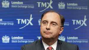 London Stock Exchange (LSE) CEO Xavier Rolet speaks during a news conference regarding the attempted merger of the TSX and the LSE in Toronto, Feb. 9, 2011.