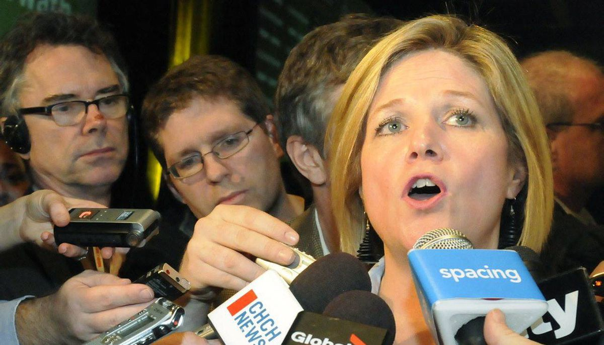 Andrea Horwath speaks with members of the media after winning the leadership of the Ontario New Democrats in Hamilton, Ontario on Saturday March 7, 2009.