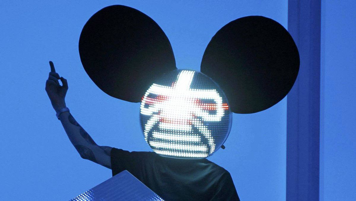 Deadmau5 performs at the 54th annual Grammy Awards in Los Angeles, Feb. 12, 2012.