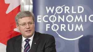 Canadian Prime Minister Stephen Harper makes a statement at the World Economic Forum in Davos, Switzerland Wednesday, January 25, 2012.