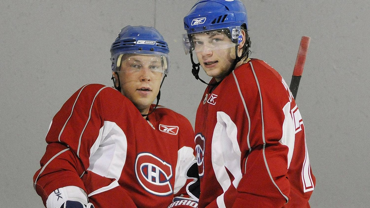 Brothers Andrei and Sergei Kostitsyn in Montreal on Sept. 20, 2008. Both players are now in Nashville.