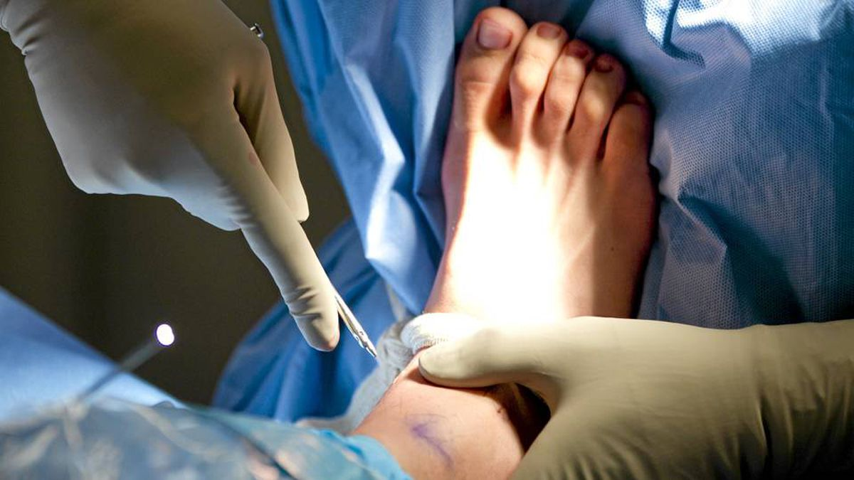 A patient during a right ankle arthroscopy procedure at St. Paul's hospital in Vancouver November 2, 2010.
