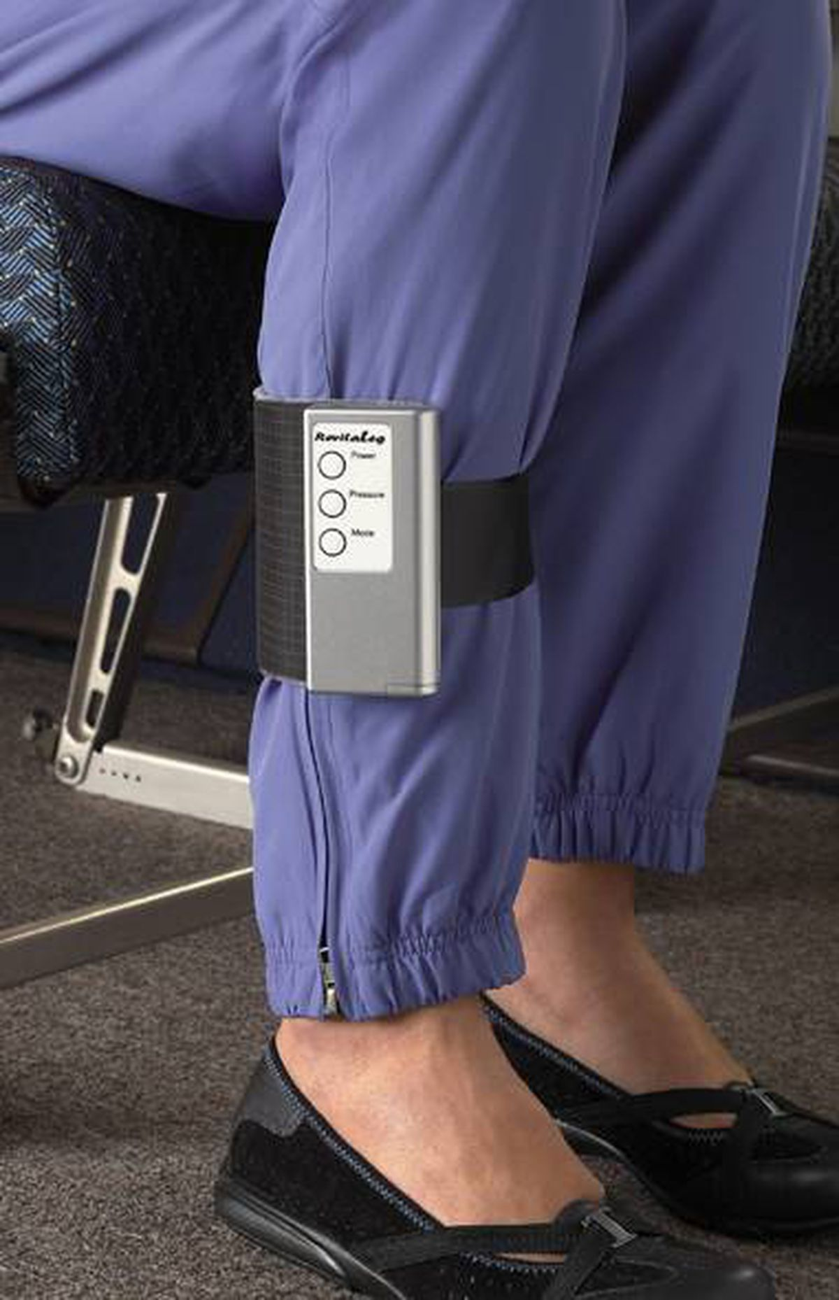 Massage it Keeping the circulation flowing on long-haul flights isn't always easy. Strap the Revita-Leg around your calf and guard against leg cramps and deep-vein thrombosis without leaving your seat. The battery-powered portable leg massager has multiple pressure settings and massage modes and automatically operates for 10 minutes at a time, so you can give equal attention to each leg. $149; magellans.com