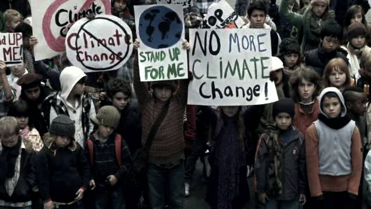 Environmental Defence's Copenhagen conference advertisement depicts kids protesting climate change.