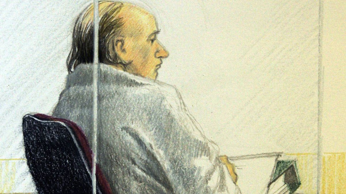 Artist's sketch shows accused serial killer Robert Pickton sitting in the prisoner's dock as he listens to closing arguements at B.C. Supreme Court in New Westminster, B.C. Monday November 19, 2007.