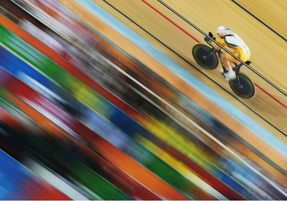Josephine Tomic of Australia is shown in action in the womens cycling 3000m individual pursuit at IG Sports Complex during day five of the Delhi 2010 Commonwealth Games on October 8, 2010 in Delhi, India.