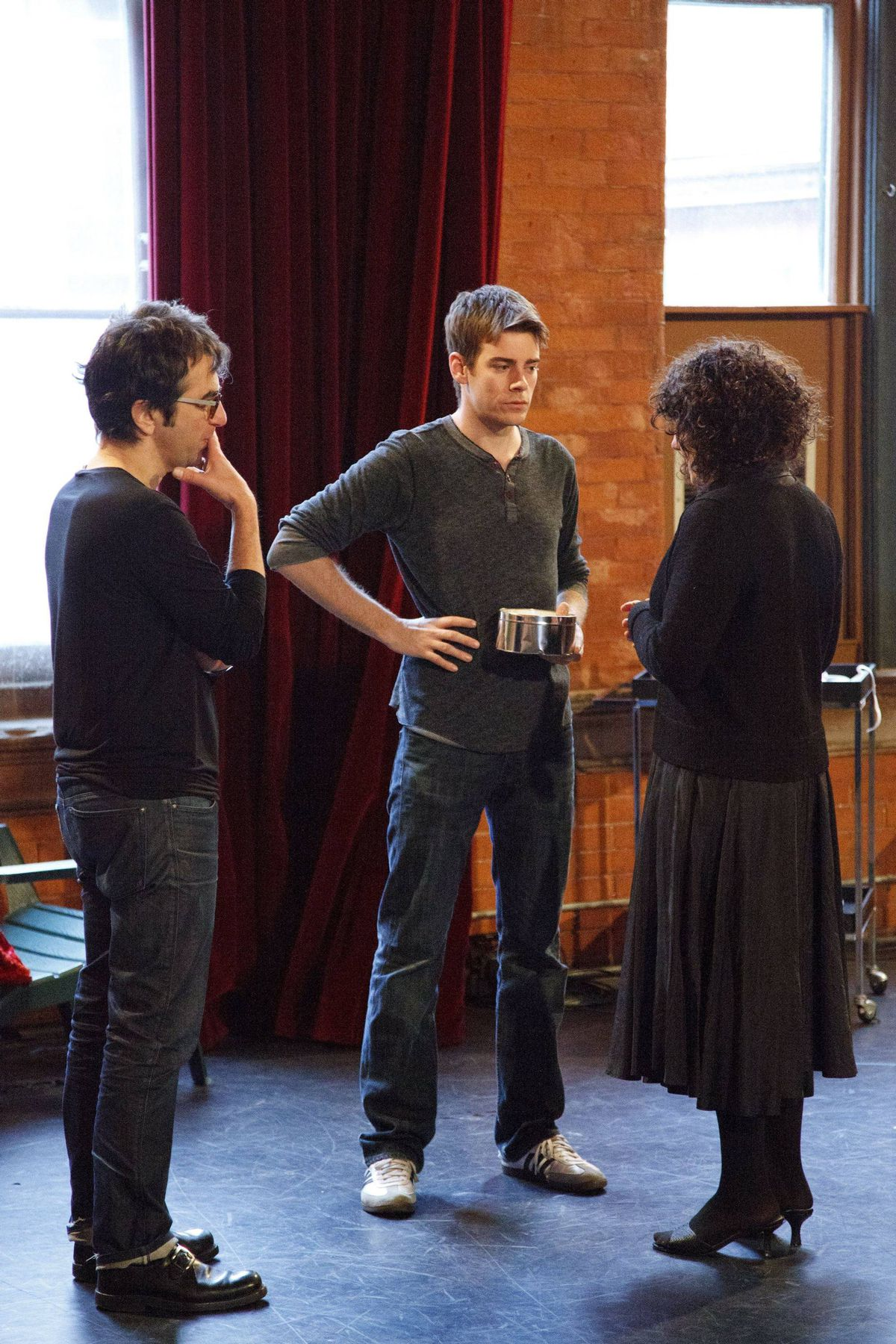 Atom Egoyan, Jeff Lillico, Arsinee Khanjian in rehearsal.