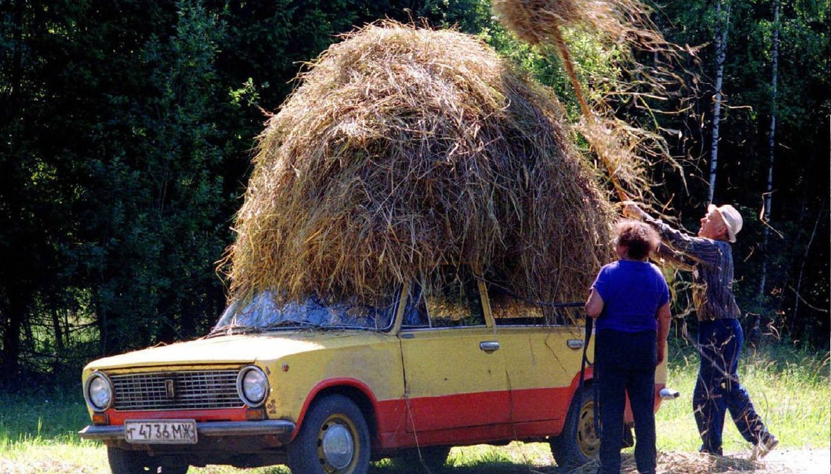 The Russian government and Fiat launched the AvtoVAZ car company in the late 1960s, producing the boxy Fiat 124 sedan known as the Lada. It was exported to Canada in the late 1970s and the 1990s. Here, some Russian farmers find a new use for the vehicle.