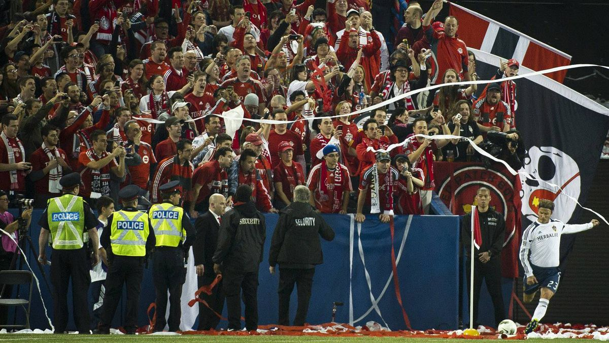 Fans jeer David Beckham during his corner kick at the Rogers Centre.