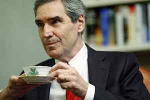 Liberal Leader Michael Ignatieff sips tea at Stornoway during a year-end interview on December 17, 2009.