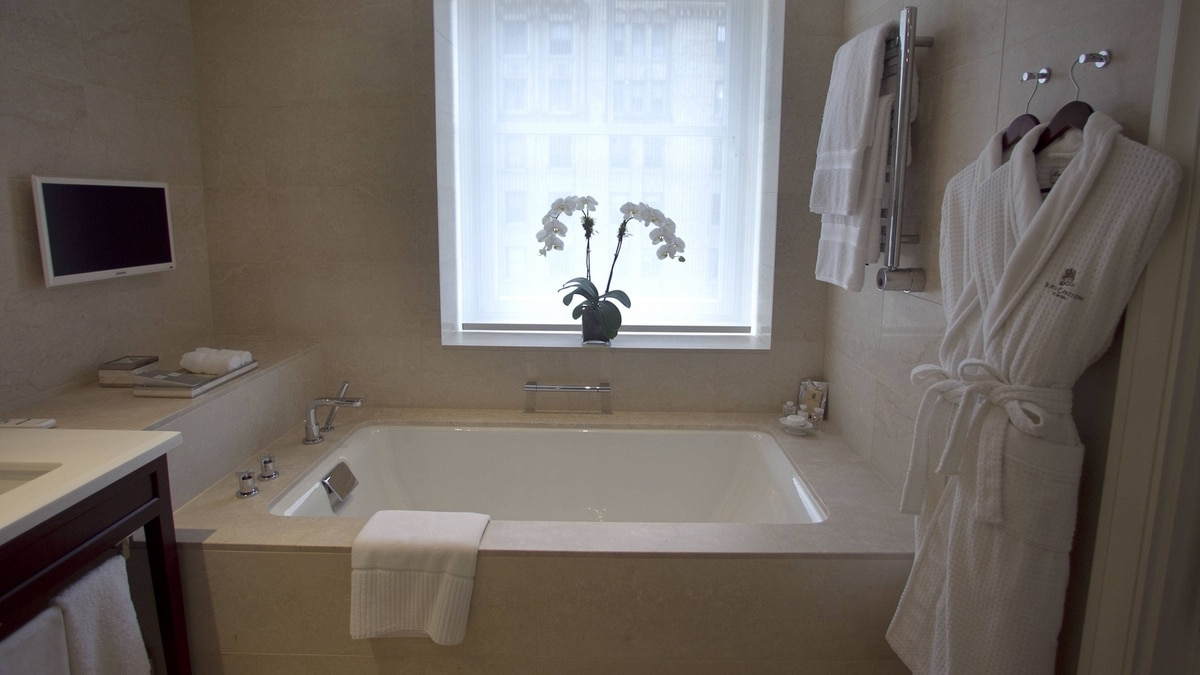 The bath, including TV, in a suite at Montreal's Ritz-Carlton.