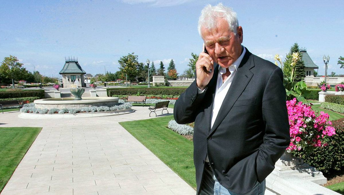 Magna chairman and founder Frank Stronach takes a call at the company's Aurora, Ont., headquarters.